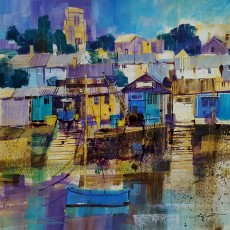 Chris Forsey - Boat shed blues, Salcombe 16x16
