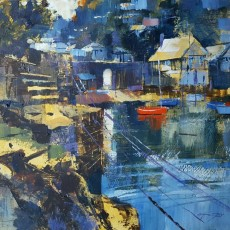 Chris Forsey archway sunlight and thethered boats at Warlfeet 12x12