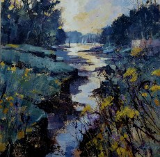 Chris Forsey Down the creek, Tuckenhay 20x20