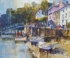 Chris Forsey - Lunchtime at The Ferry, Dittisham 20x16