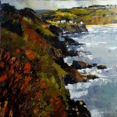 Chris Forsey The rocky edge, towards Hall Sands 20x20