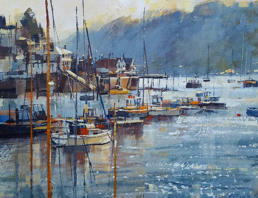 Gittering calm, towards Kingswear 20x24. print