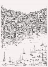 Kate Barker - Across The Water From Dartmouth Pen and Ink