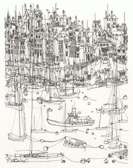 Kate Barker - Kingswear 1 - Pen and Ink 36x42 235
