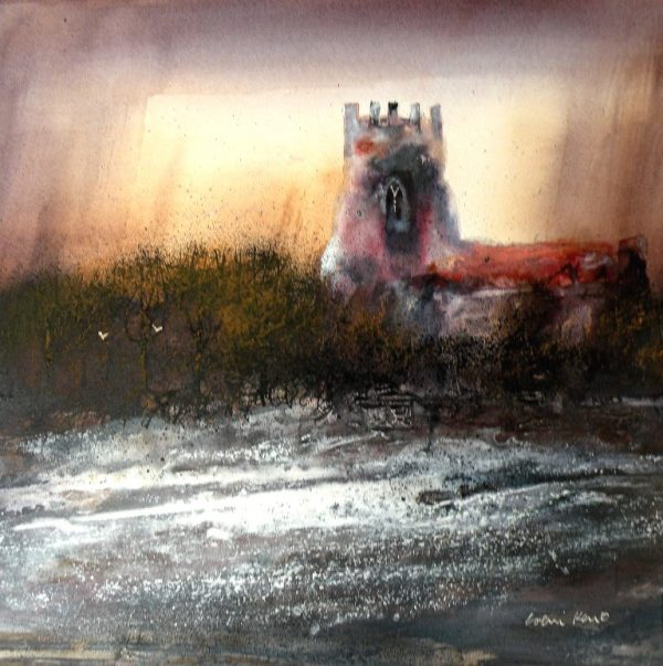 Colin Kent - evening church 31x31 850