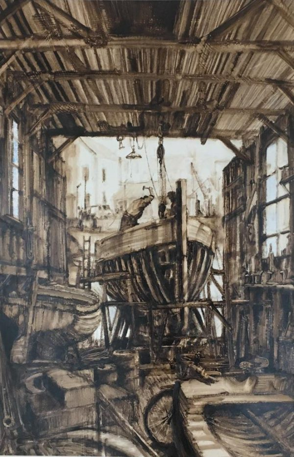 Anthony Amos - Boatshed unframed