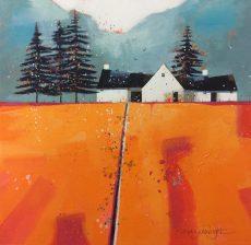 Wevet Farmhouse, 10 x 10 mixed media on canvas, £600