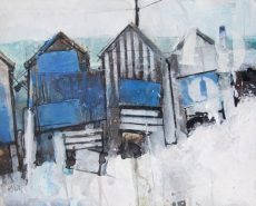 beached huts 1 - blue weatherboard 50x40