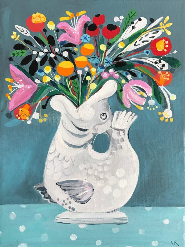 Dartmouth Fish and flowers acrylic on canvas framed 40x30cm