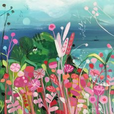 Sea Pinks acrylic on canvas framed 20x20cm