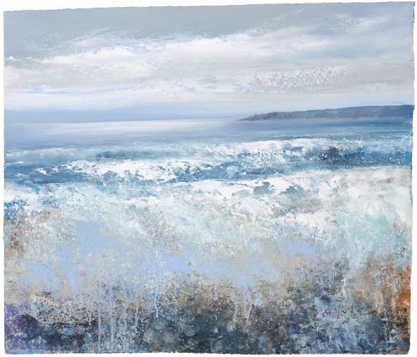 The Sea Rolls in, Torcross Point...oil on paper....42 x 49cm...£1,200.00