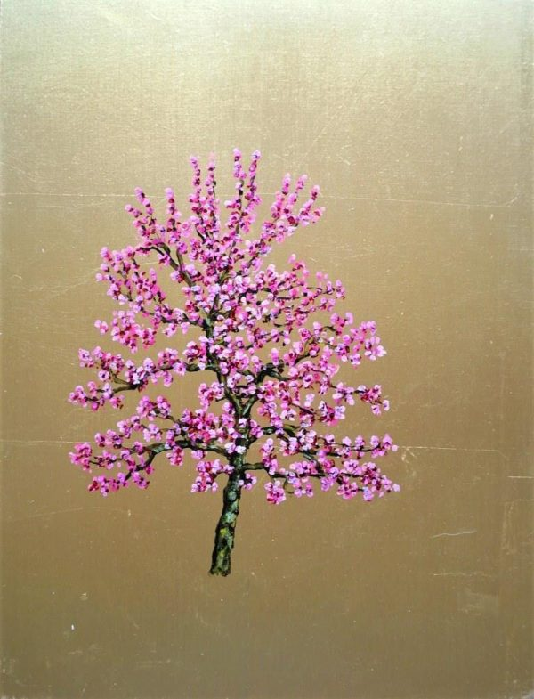 Cherry Blossom, Oil on Gold Leaf, 32cm x 42cm 500.
