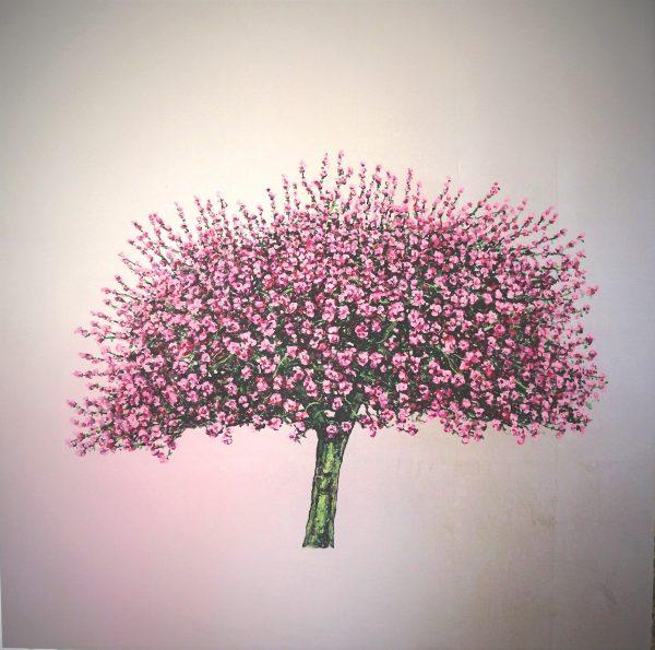 Silver Blossom, Oil on Silver Leaf, 100cm x 100cm.£2650