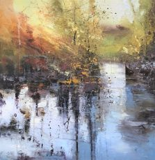 Summer twilight 3 by Claire Wiltsher 90x90cm,