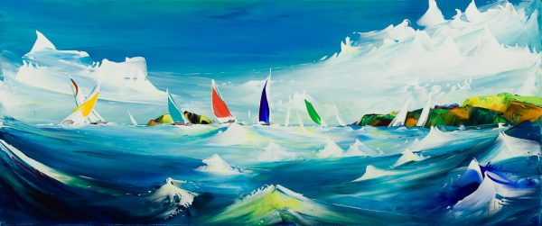 1432 Jan Nelson A Race Past the Mewstone 70x30cm