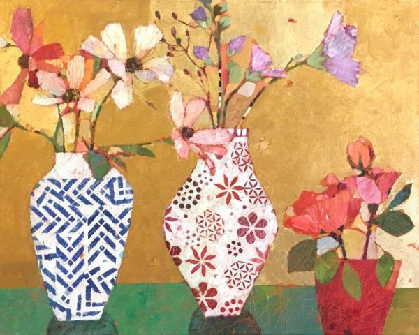 Sally Anne Fitter - Roses Hollyhocks and Cosmos. 895
