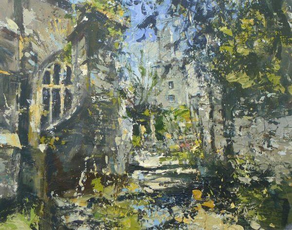 Approach, Dartmouth castle 50x40cm acrylic on panel plus frame £1600.00