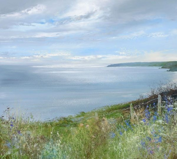 1.Bluebells watch over the Bay, Start Point....oil on paper ...51 x 45cm ....£1,495.00