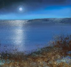 Full Moon over Start Point....21 x 23cm ....oil on paper....£625.00