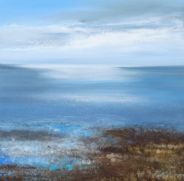 Light Dazzles on the Sea at Blackpool Sands ...oil on paper....56 x 57cm ....£1,995.00
