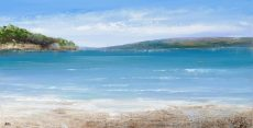 Perfect Start to the Day, on the Beach , South Sands, Salcombe...oil on paper...28 x 56cm ....£995.0