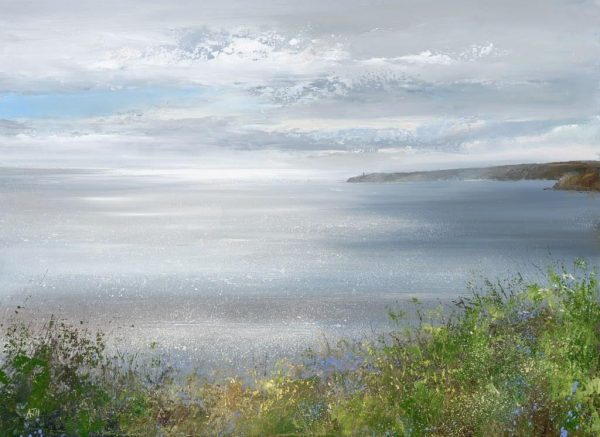 A Fresh and Bright Spring Day, Looking towards Start Point...oil on paper...41 x 56cm ....£1,495.00
