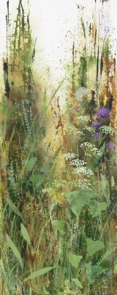 .September Grasses at Little Dartmouth...oil on canvas...50 x 20cm ...£850.0