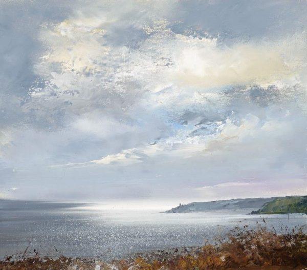 Big Sky over Start Bay..oil on paper ...17 x 19cm...£525.00