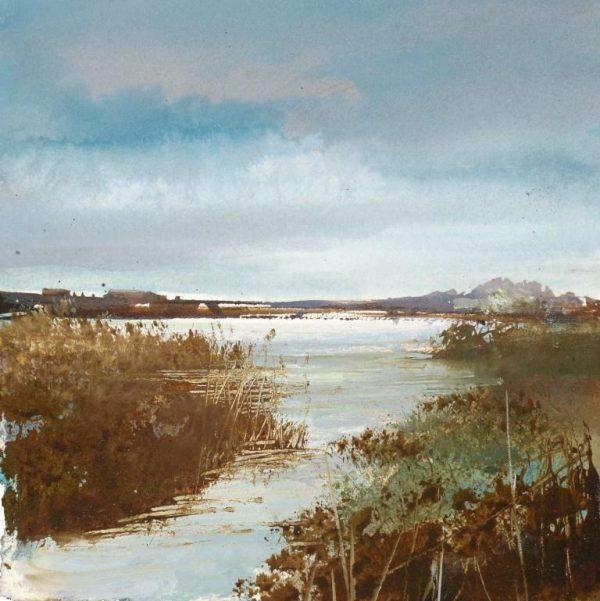 Snowy Morning at Slapton Ley.... watercolour sketch...13 x 13cm ....£375.00