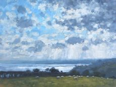 CW 'Sheep and light on the sea, Little Dartmouth' Oil 30x40cm £525