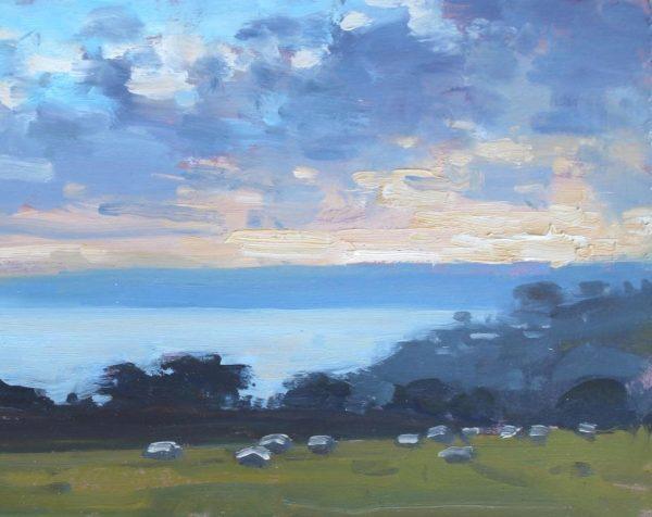 Sheep-grazing-under-evening-sky-Little-Dartmouth-Oil-20x25cm-£395