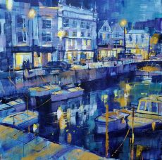 Evening reflections, dartmouth harbour 50x50 c 1295