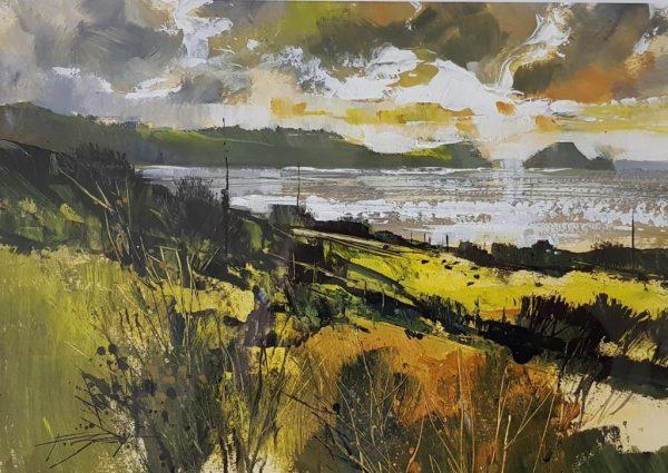 Fields, cliffs and glittering sea 30x40 750