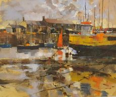 Red sail, yellow hull. 50x60 c 1295