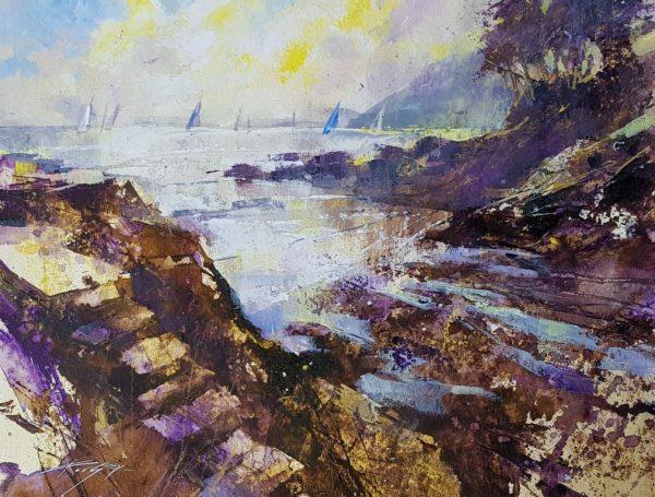Sails, steps and low tide, Castle Cove 36x50 950