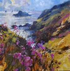 Thrift, sails and cliffs, Old Mill Bay 50x50 c 1125