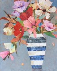 Late Summer Flowers in Striped Jug 24 x30 in £895
