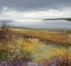 Autumn Fields Watch over Start Bay ....oil on paper...28 x 29cm ....£775.00