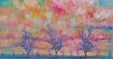 King of the Pippins , Orchard Glow. Oil on panel, 100cm x 54cm.
