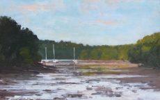 7. 'Summer evening near Dittisham' Oil on panel (28x44 £525)