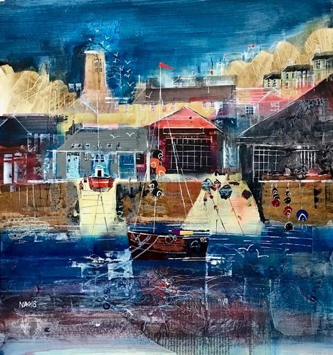 "Boat sheds, Salcombe, size 16.5"" x 16.5"", £595"