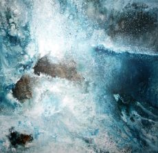 Caught Between Two Great Waves (92 x 92 mixed media on board)