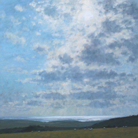 CW 'Sunlight on the sea' Oil on canvas 100x100cm £2250