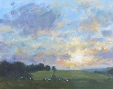 CW . 'Cows grazing at Sunset' Oil on board 20x25cm £395