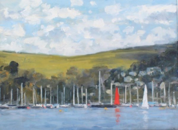 CW Red sail, Dartmouth Harbour' Oil on board 30x40cm £525