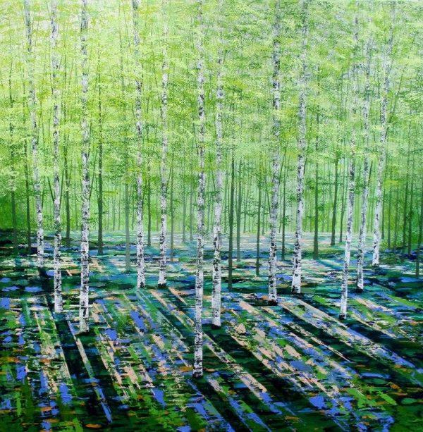 Far Away Wood, acrylics on canvas 76x76cms £950 (1)
