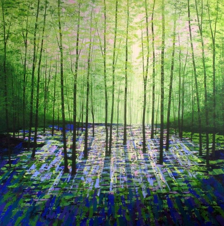 Forget Me Not Wood Acrylic on canvas 102x102cms £1500 (1)