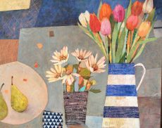 SAF 5 Tulips Daisies and Pears 24 x30 in £985