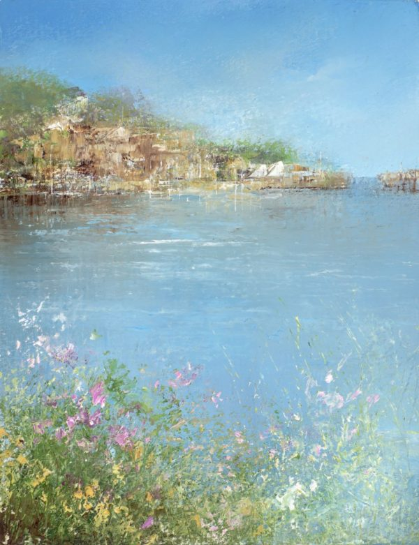 Beautiful Light and Flowers, River Dart....oil on paper....16.5 x 13cm...£450.00