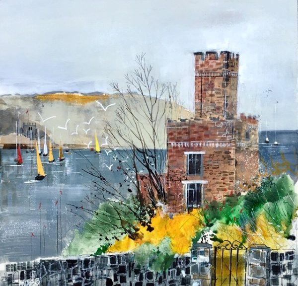 """Dart castle & the estuary, size 16.5"""" x 16.5"""", £595"""